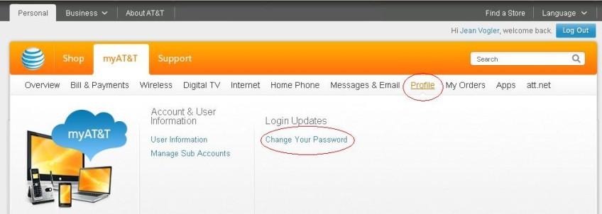 how do i change my password on my att yahoo account